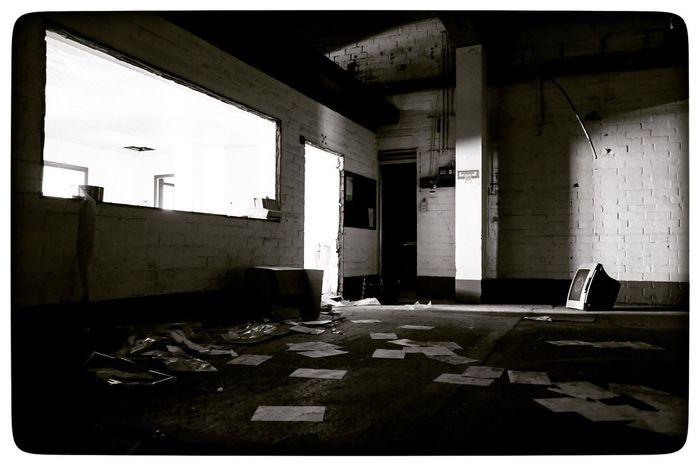 Illuminated Abandoned Architecture Destruction Indoors  Factory Tvscreen Damaged