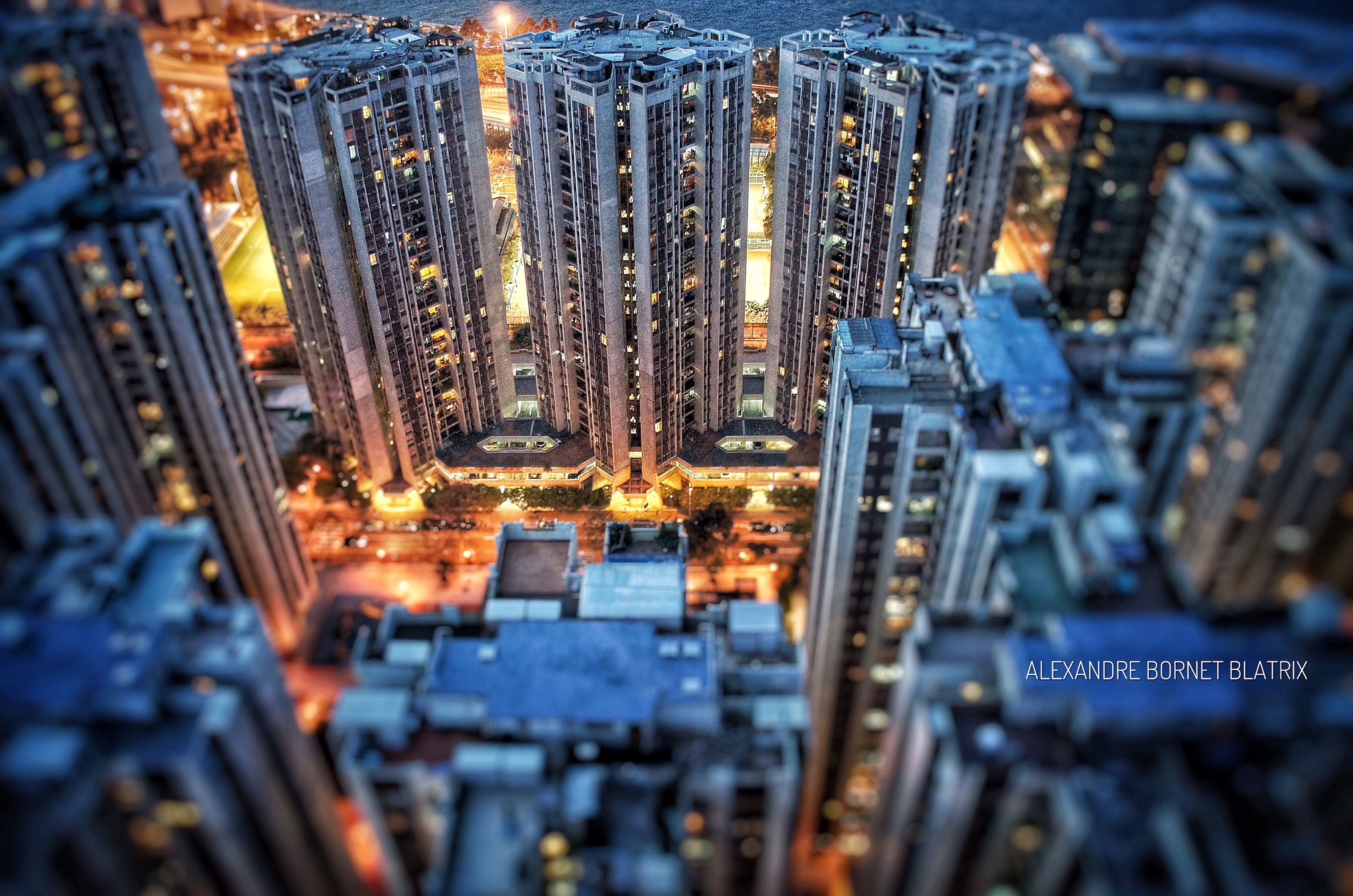 Architecture Illuminated City Building Exterior Built Structure High Angle View Cityscape Tower City Life Modern Appartment Quarry Bay Sugar Bar Lounge Terrace Rooftop Tiltshift HongKong