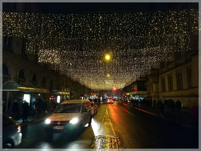 Night Illuminated Christmas Decoration No People Outdoors Transportation Sony Xperia Photography. Streamzoofamily 🇩🇪Germany Light Effect EyeEm Best Shots - The Streets EyeEm Deutschland Christmas Lights Reflection Xperiamoments IMography