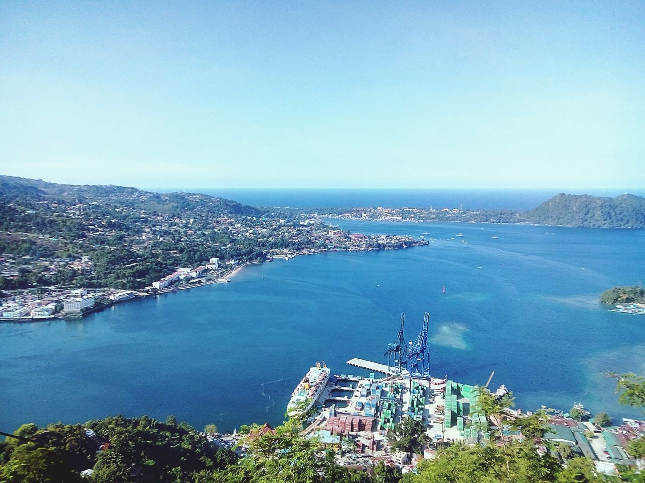 Water Sea Nautical Vessel City Cityscape Built Structure High Angle View Mode Of Transport Harbor Aerial View Copy Space Jayapura Papua Indonesia