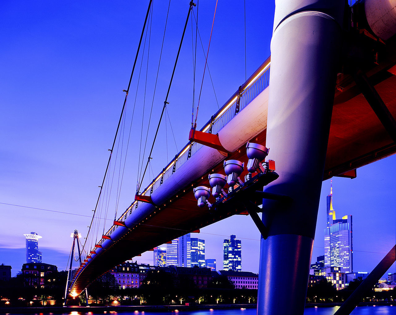 Architectual Lighting Architecture Bridge - Man Made Structure Evening Footbridge Frankfurt Am Main Holbeinstegbrücke Low Angle View Mainufer Frankfurt Night Lights No People River Main Riverbank Skyline Frankfurt Urban Architecture