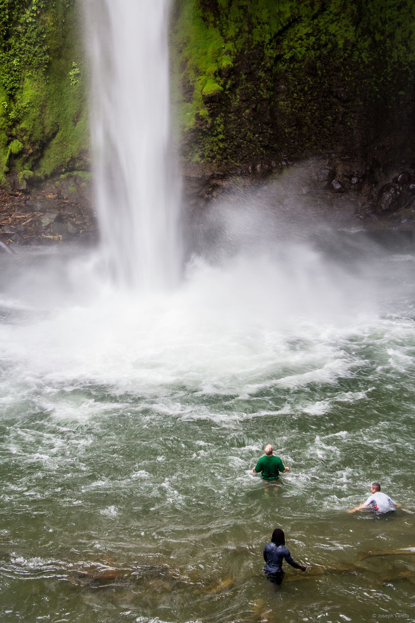 High Angle View Of People By Waterfall