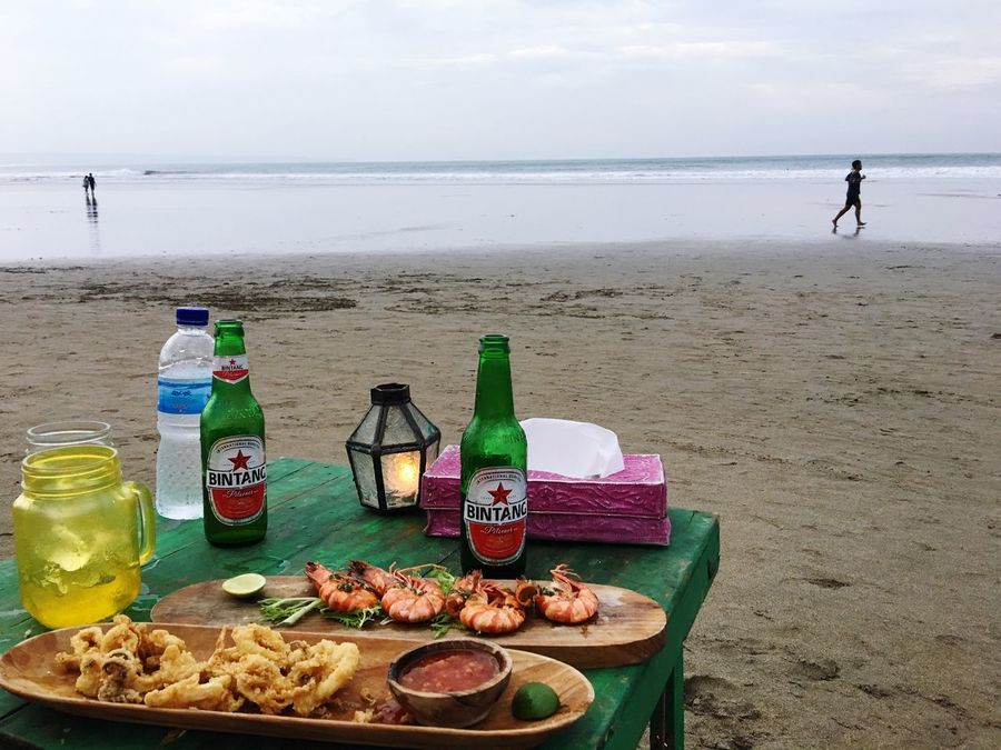 Laplancha Bali Beach Bali INDONESIA Beach Sea Bintang Beer Friendship With Bottle Shirimp Calamari