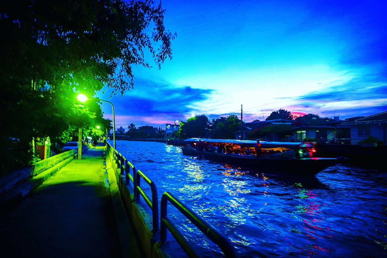Water Sky Transportation Nautical Vessel No People Travel Destinations Illuminated City Outdoors Night Tree Nature Architecture Building Exterior Canel Boat Saensaeb Saensaebcanal