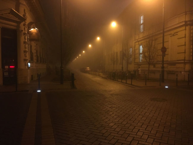 Foggy Cold Szeged Winter City Street Night Lights Iphonephotography IPhoneography Iphone6s