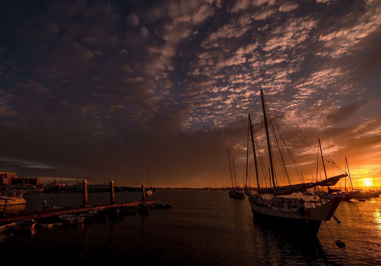 nautical vessel, transportation, water, moored, mode of transport, boat, sky, sunset, reflection, cloud - sky, nature, scenics, sea, mast, tranquility, beauty in nature, no people, outdoors, waterfront, harbor, sailboat, sailing ship, day