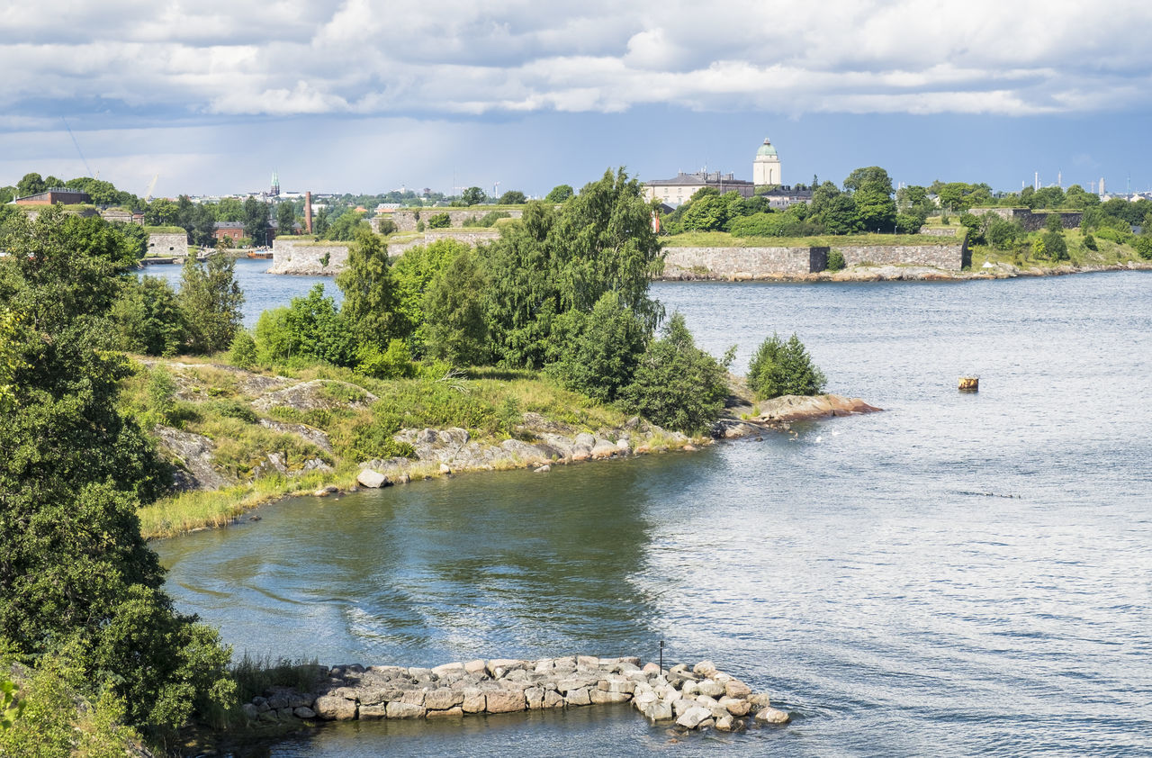 Scenics landscape at summer day in Suomenlinna, Helsinki, Finland Barrier Blue Building Exterior Castle City Clouds And Sky Day Green Helsinki Historic History Landscape Light And Shadow Nature No People Outdoors S Sea Seascape Summertime Suomenlinna Tower Tree Vallisaari Water