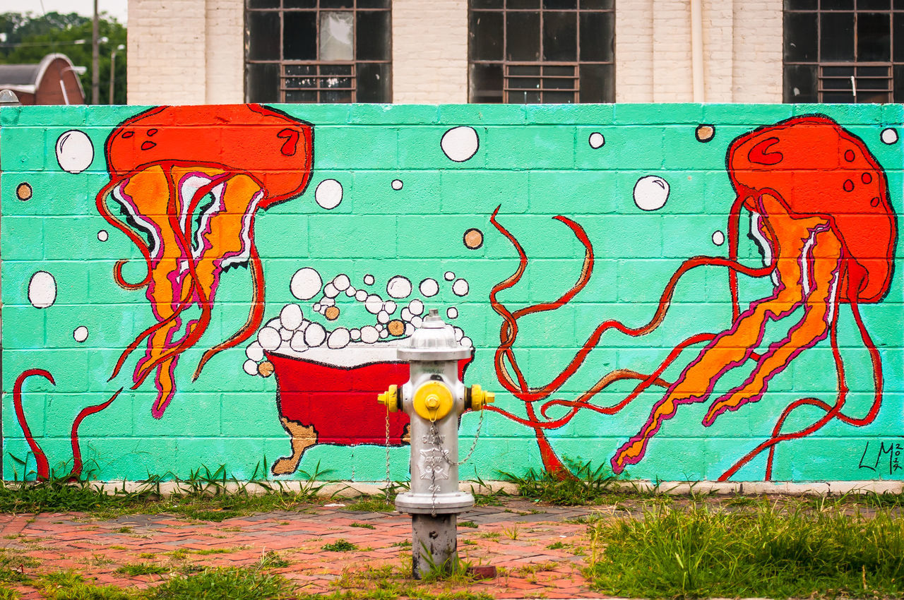Richmond, VA USA Street Art Bathtub Bathtub Bubbles Creativity Fire Hydrant Graffiti Hydrant Jellyfish Richmond, VA Street Art Street Art/Graffiti Street Artist VCU VCU Artists Wall Wall - Building Feature