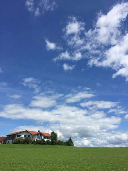 Architecture Beauty In Nature Building Exterior Built Structure Cloud - Sky Country House Day Field Grass Green Color House Landscape Nature No People Non-urban Scene Outdoors Residential Building Rural Scene Scenics Sky Tranquil Scene Tranquility