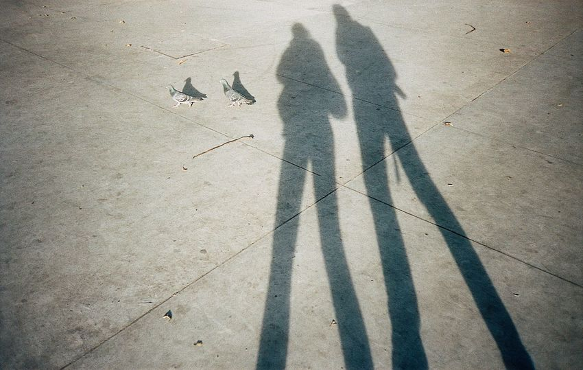 Together Shadow Sunlight Two People Silhouette People Birds Couple Film 35mm Concrete Bogotá EyeEmNewHere
