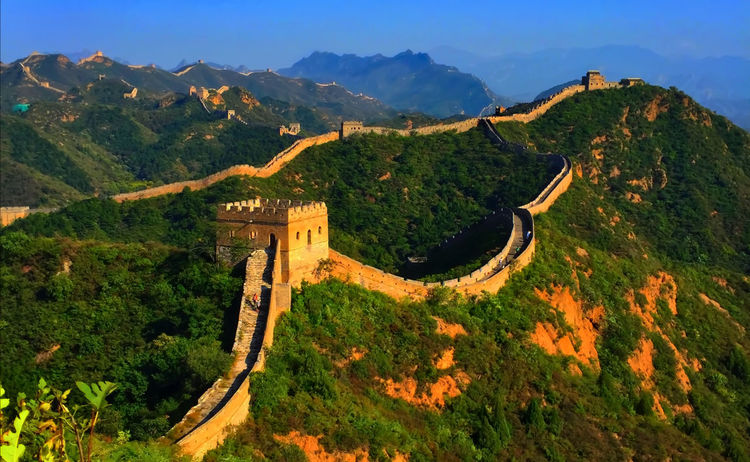 Arc Famous Place Great Wall Of China Outdoors Sunset
