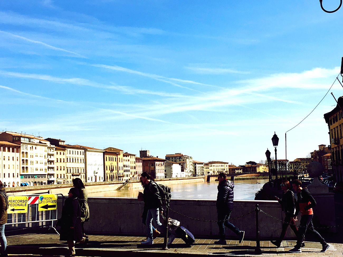 Pisa Italy Italia Arno  Sky City Day Men City Life Cloud - Sky People Sky And Clouds Taking Photos IMography Clouds And Sky Cloud Sky_ Collection White Color Blue Italy❤️