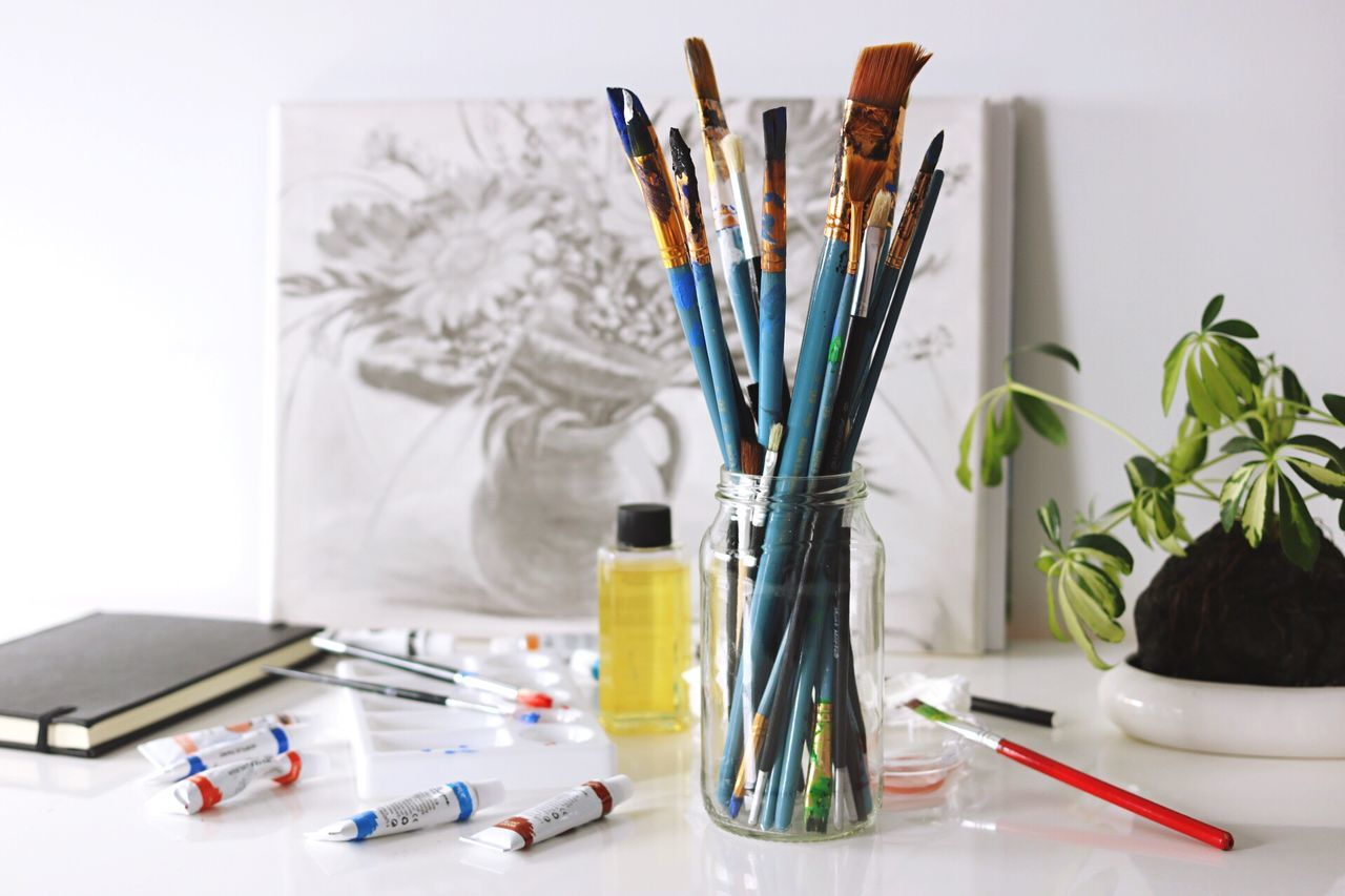 Still Life Large Group Of Objects Indoors  Equipment Beauty Artist Studio