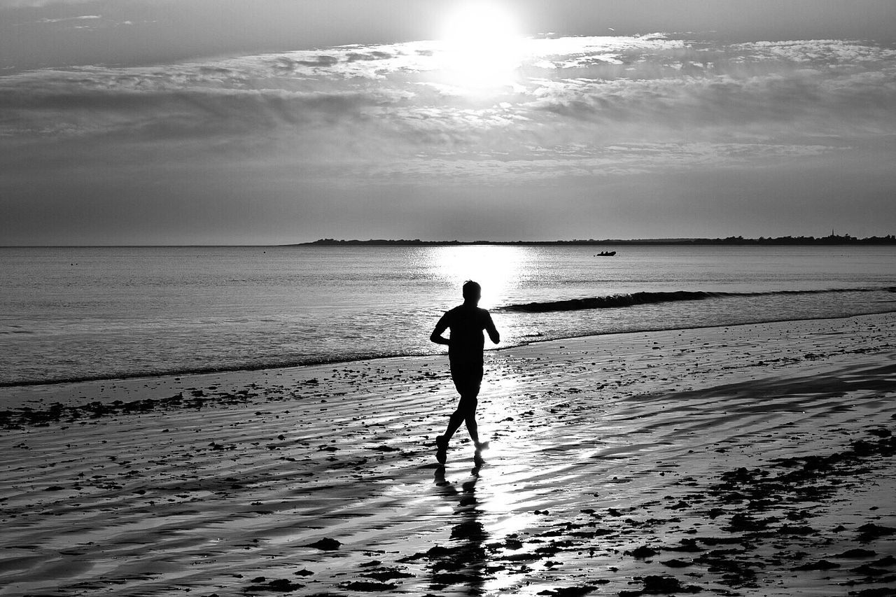 Running to the sun ... Sea Beach Horizon Over Water Sky Water One Person Sand Lifestyles Cloud - Sky Leisure Activity Beauty In Nature