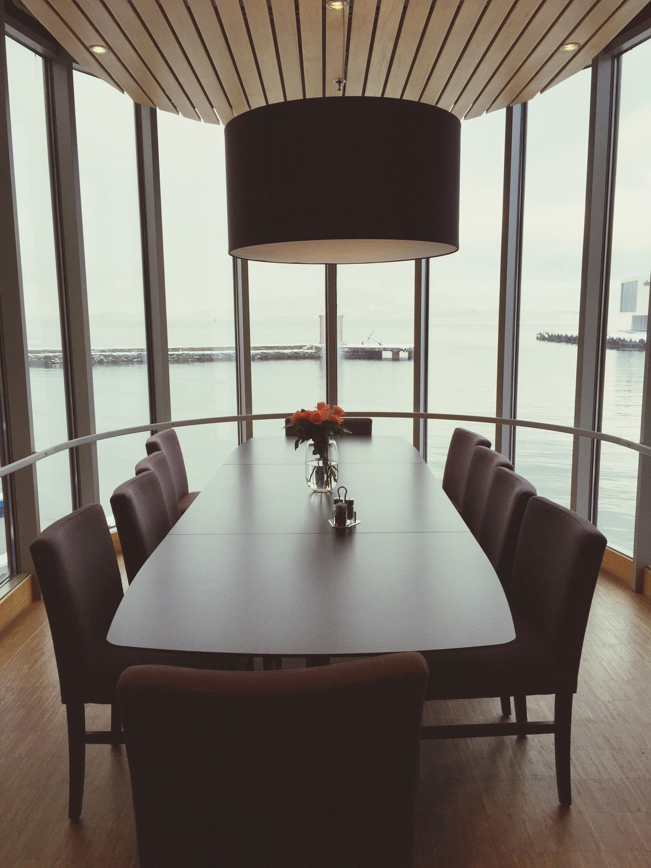 Interior Views Lounge Bigwindow Longtable Harbour View Scandinavian Design Hotel Lounge