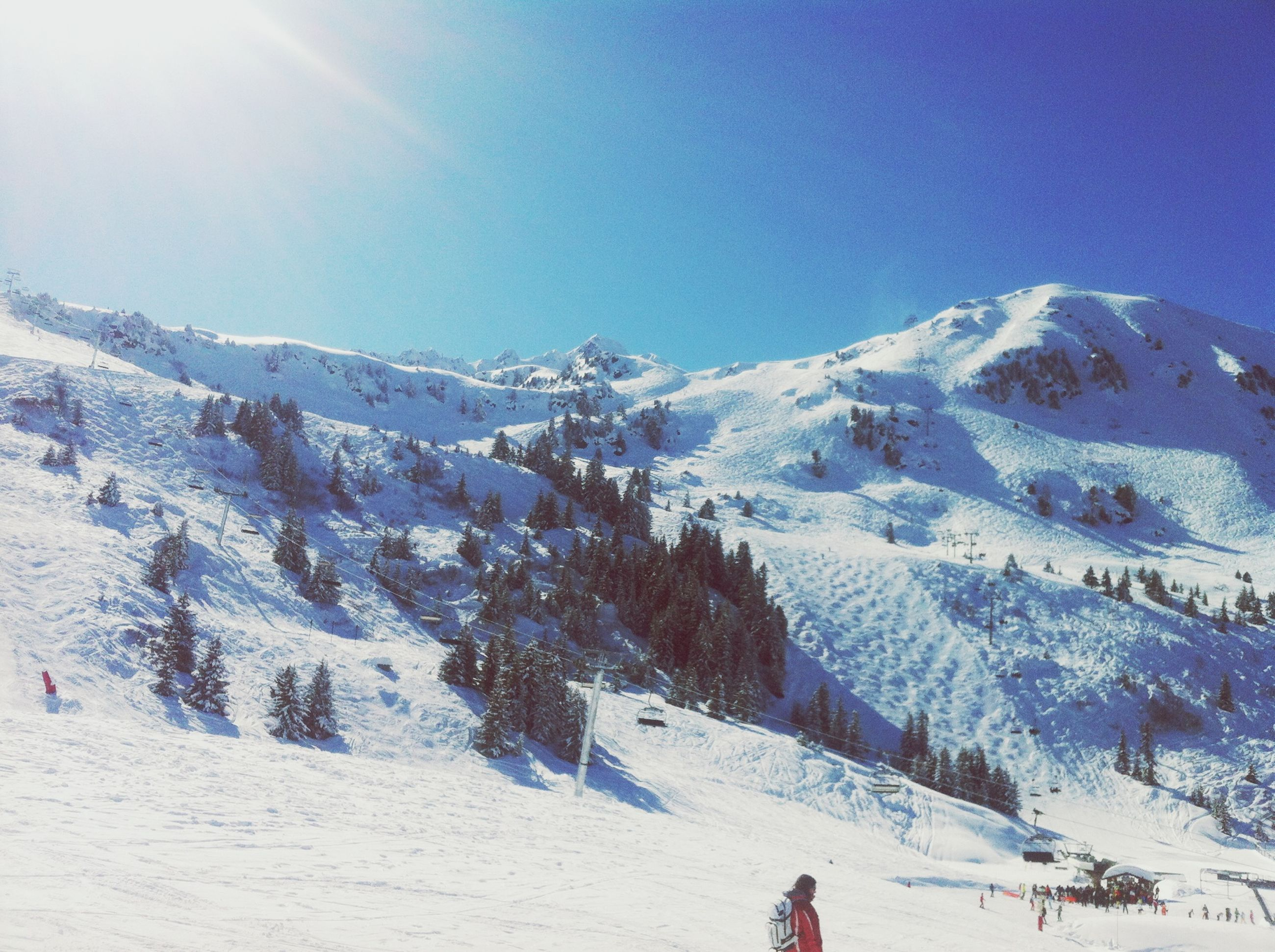 snow, winter, cold temperature, season, weather, mountain, covering, snowcapped mountain, tranquil scene, beauty in nature, clear sky, tranquility, landscape, scenics, frozen, nature, blue, white color, skiing
