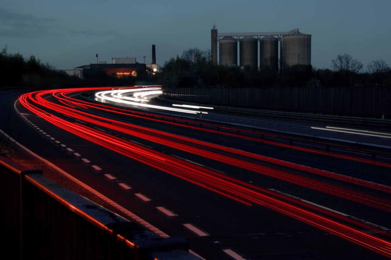 Built Structure Car Lights Hight Way Light Trail Light Trails Long Exposure Long Exposure Night Photography Long Exposure Photography Long Exposure Shot Motor Way Night Outdoors Red Road Sky Speed Speedway