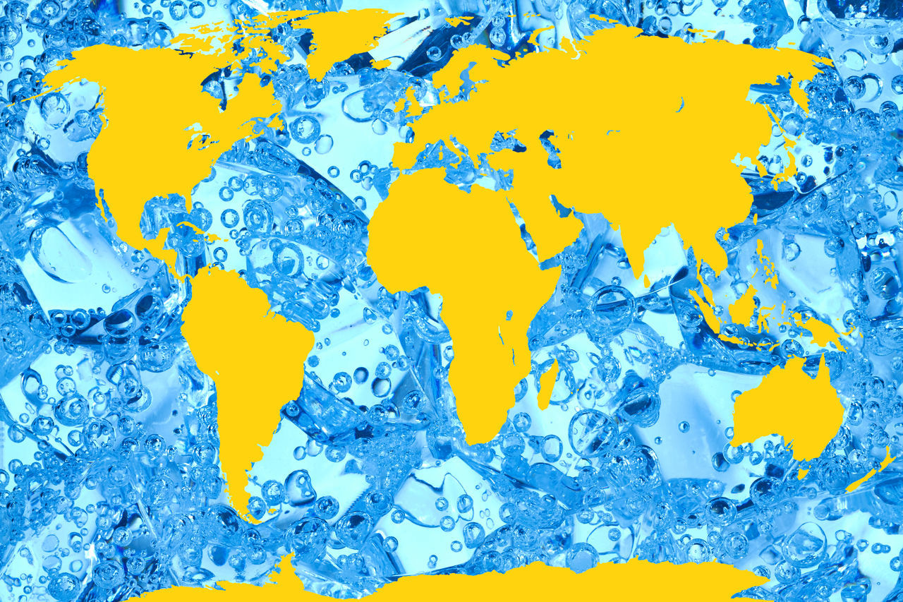 blue, yellow, backgrounds, full frame, close-up, abstract, paint, textured, studio shot, no people, indoors, day