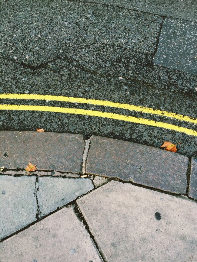 Its about the leaves Road Marking Yellow High Angle View Street Road Outdoors Leaves Auntumn London Londoncity Streetphotography