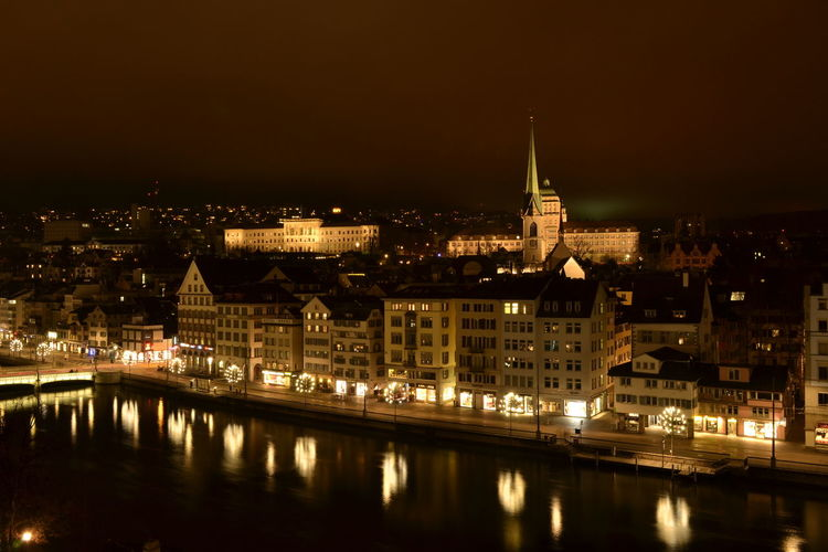 Night Cityscape Building Exterior Illuminated City Architecture Built Structure Reflection No People Travel Destinations Urban Skyline Government Sky Zürich Eth Christmas Time MeetAndGreet Merry Christmas from Zurich