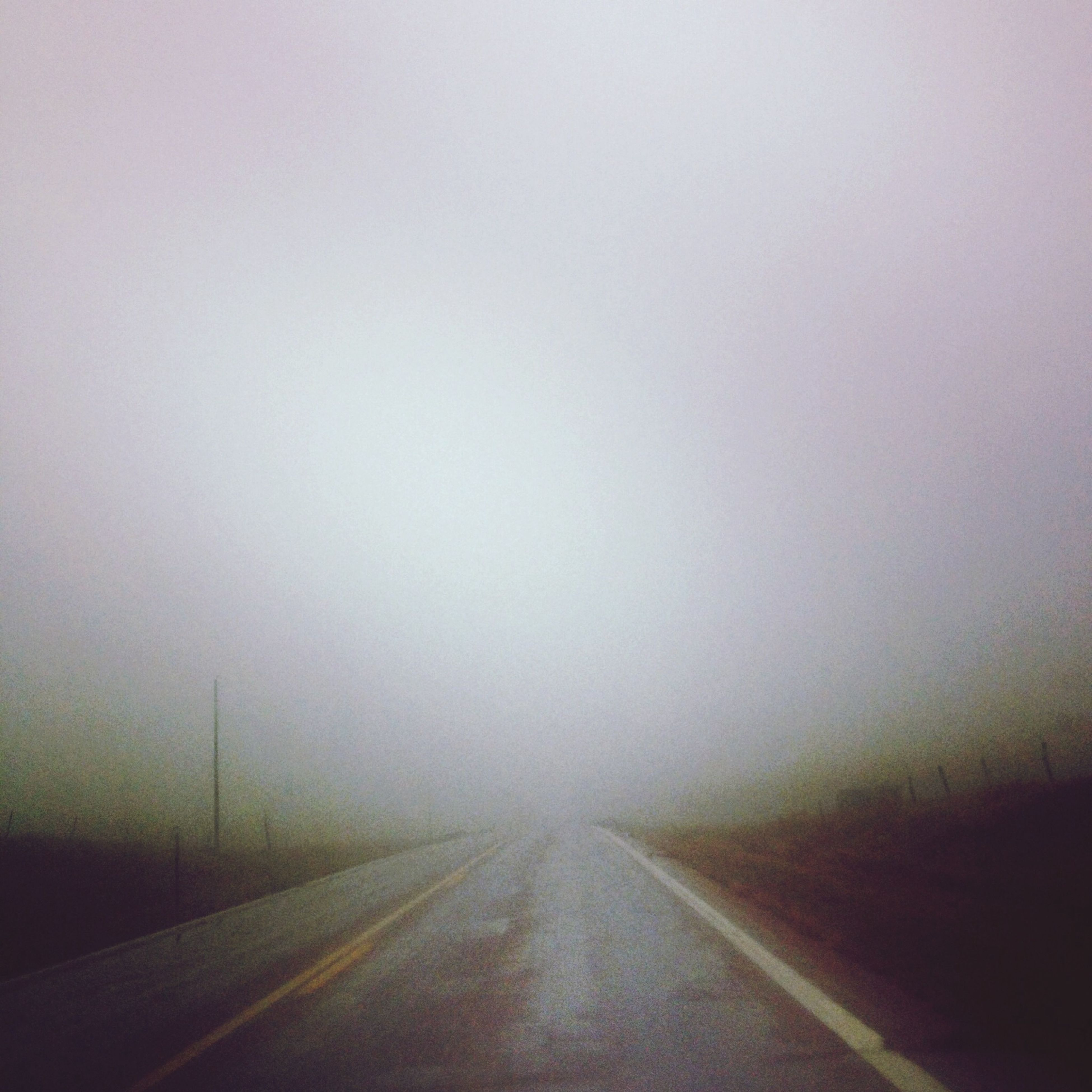 the way forward, fog, diminishing perspective, transportation, road, vanishing point, foggy, weather, copy space, road marking, empty road, empty, long, no people, nature, sky, day, outdoors, tranquility