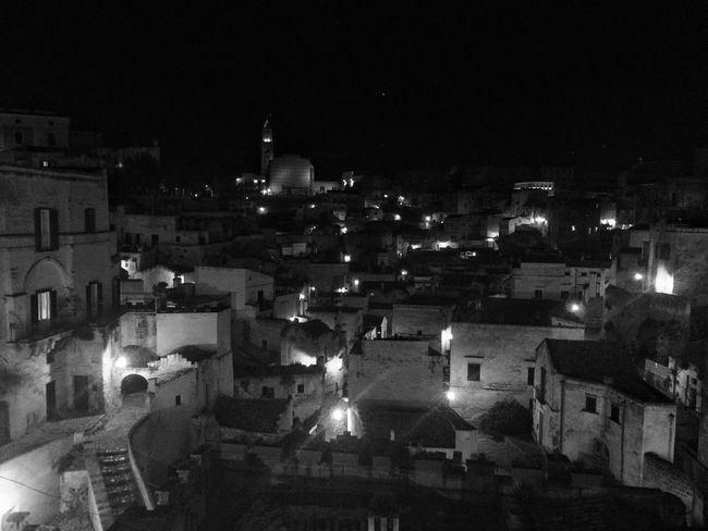 2nd day of travel - Matera by Night EyeEm Best Shots Blackandwhite Photography Bw_lover Streetphoto_bw Blackandwhite Monochrome Bw_collection TheMinimals (less Edit Juxt Photography) Traveling Panorama