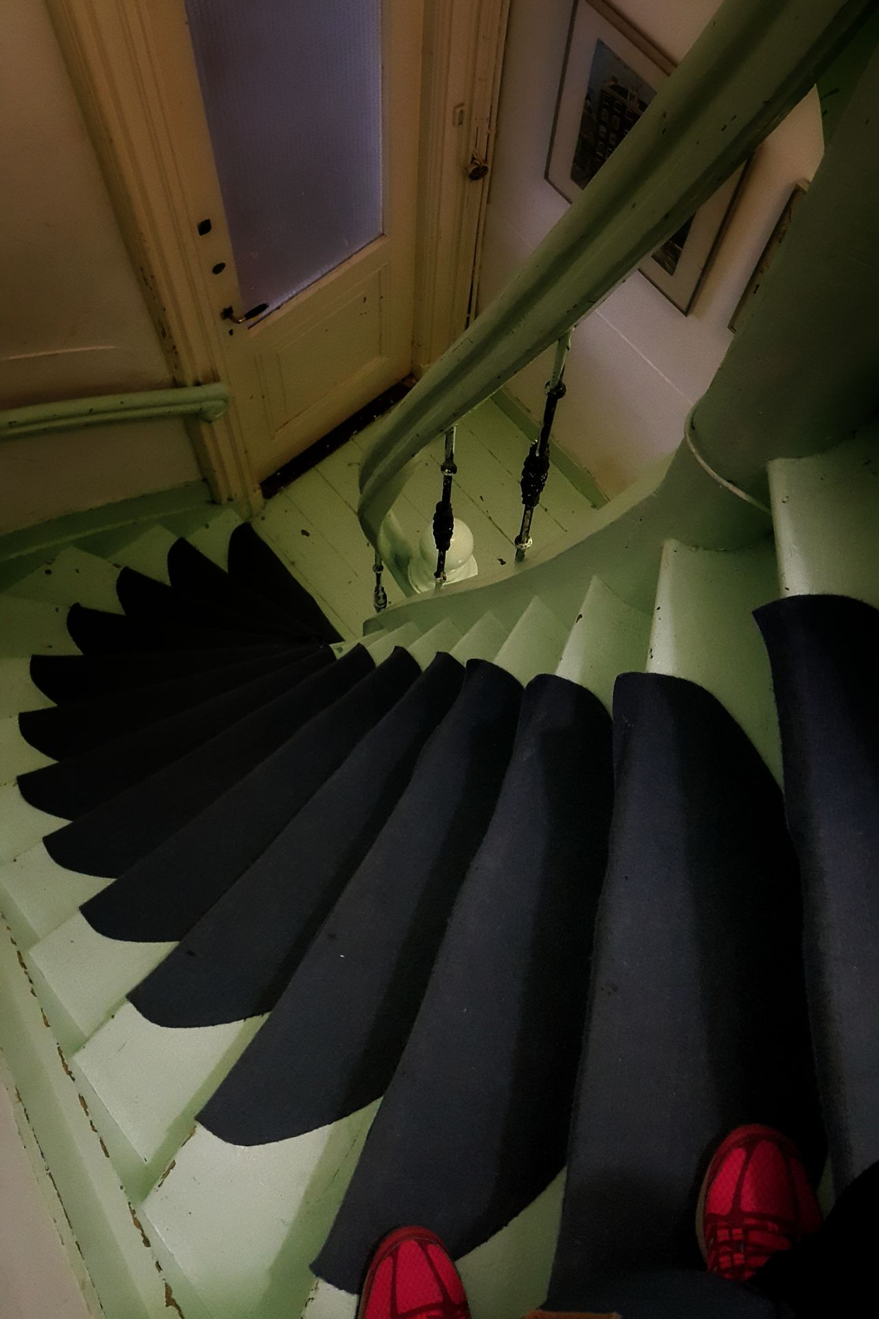 Climbing up these stairs was fine, going down was a different story 😨 Vertical Vertigo High Angle Spiralstairs Spiral Staircase Stairs Steps Dutch House Indoors  Red Shoes Dutch Architecture