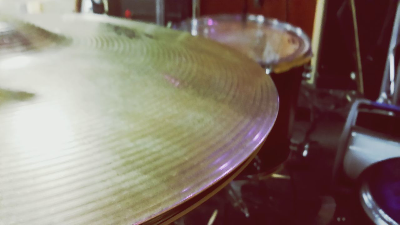 music, indoors, musical instrument, close-up, no people, cymbal, arts culture and entertainment, drum - percussion instrument, freshness, day