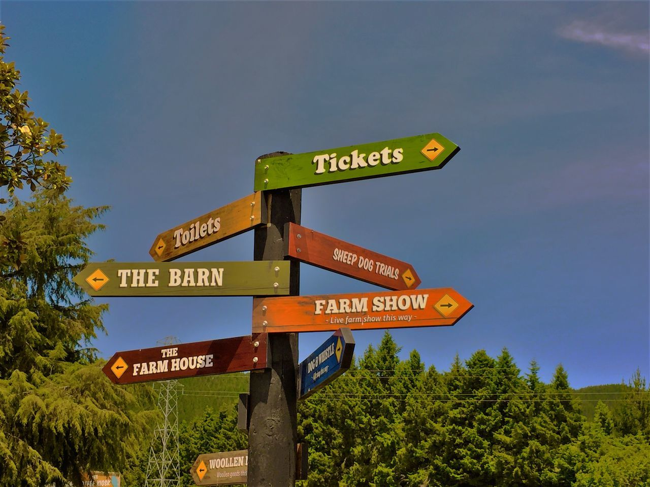 Multiple Sign post at a tourist attraction Blue Capital Letter Communication Directional Sign Farm Show Si Information Information Sign Low Angle View Outdoors Pole Road Sign Sign Sign Board Signboard Text The Barn Sign Ticket Sign Western Script