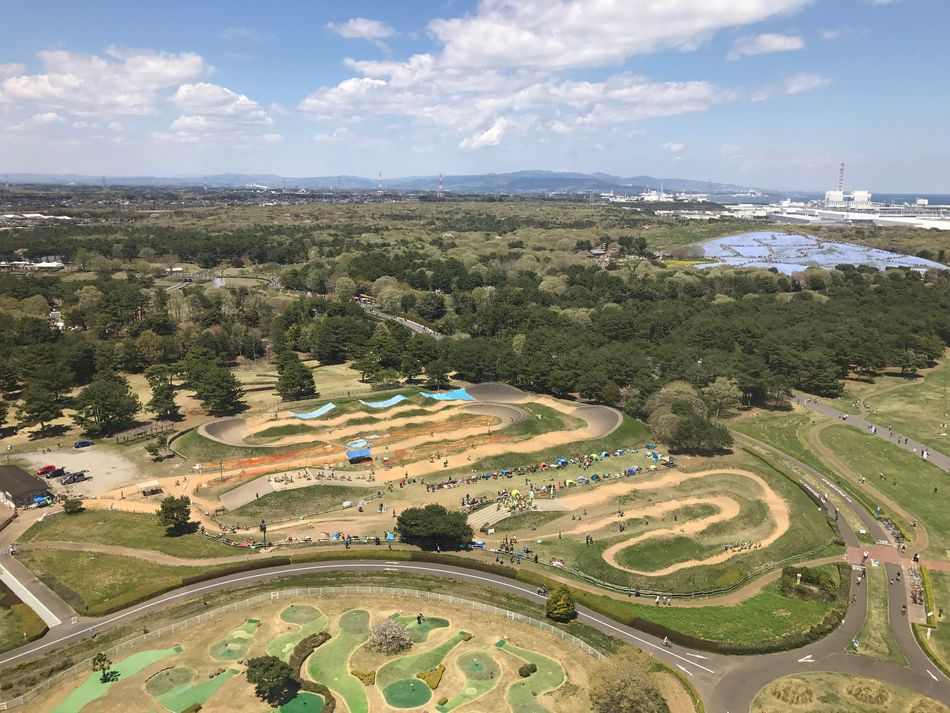 HitachiSeaSidePark Sky Cloud - Sky High Angle View Landscape Day Scenics Aerial View Nature Outdoors Beauty In Nature No People Architecture Tree Tranquility Water Built Structure Patchwork Landscape Mountain Building Exterior Growth Japan