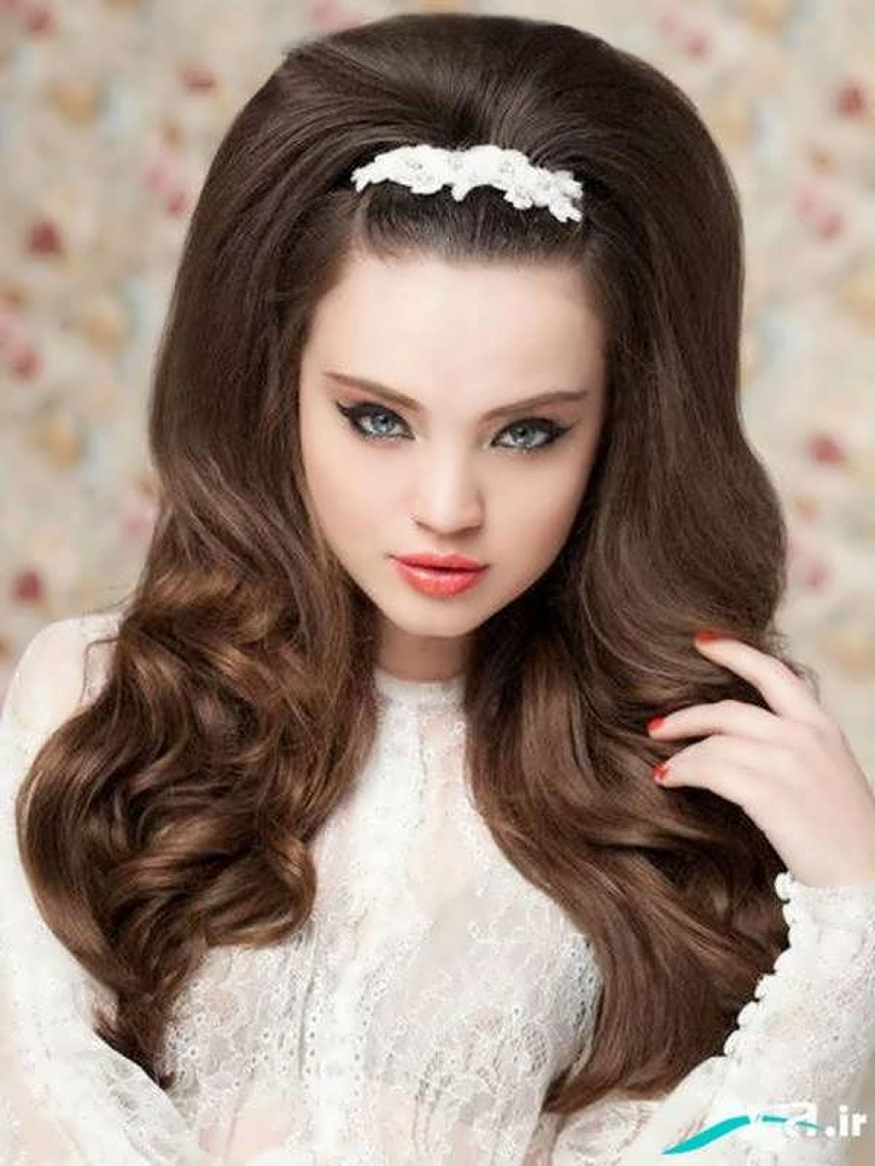 long hair, portrait, beauty, only women, brown hair, fashion, one young woman only, beautiful people, one person, glamour, one woman only, young adult, looking at camera, beautiful woman, elegance, adult, adults only, people, indoors, women, close-up, human body part, tiara, hair salon, day
