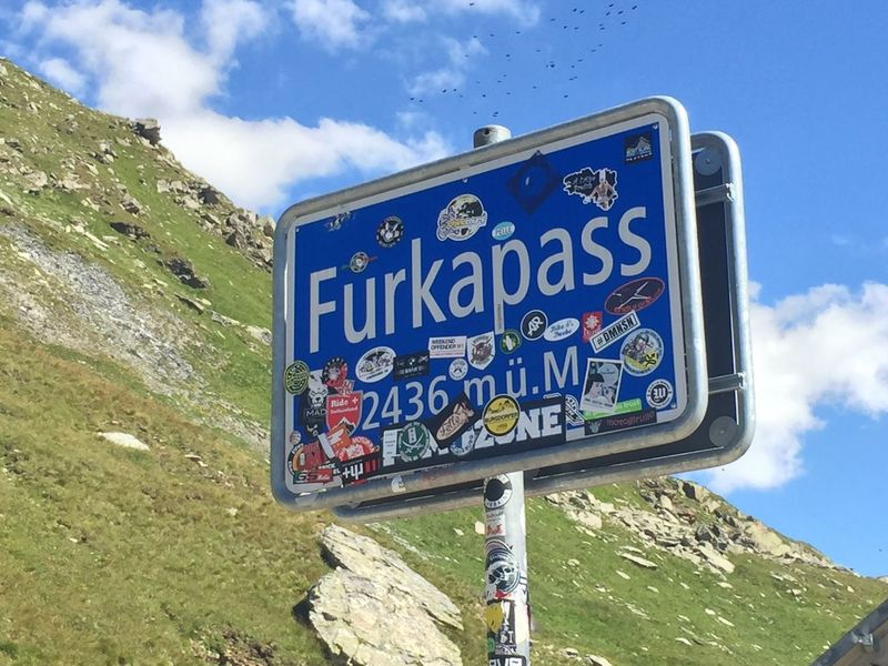 Furkapass Sign Furka Pass Sign Summit Furka Furkapass Andermatt  Andermattswissalps Cycling Velo Altitude Alps Swiss Switzerland Swiss Alps Mountain Mountains Road Sign Accomplished Accomplishment Stickers Cyclist Elevation Height