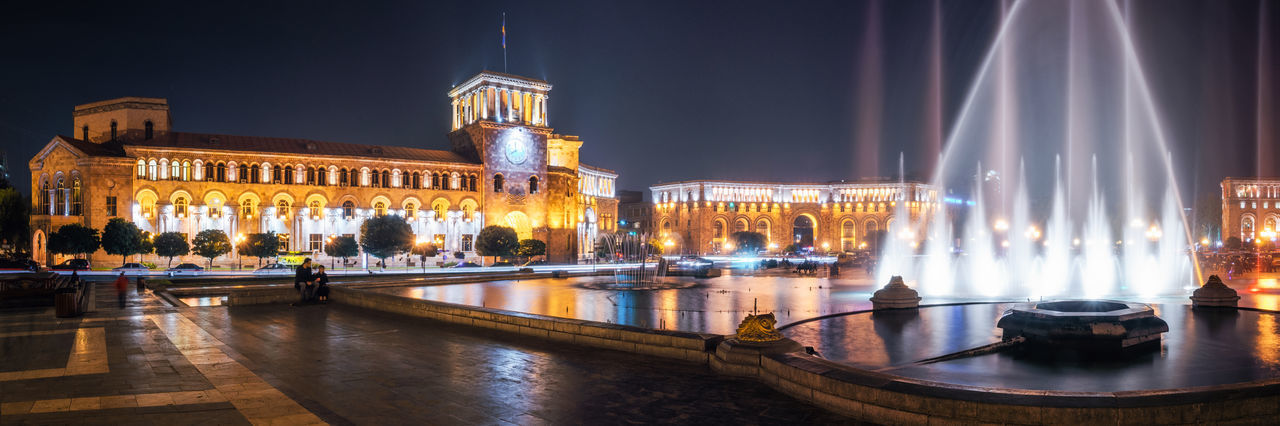 The Government of the Republic of Armenia at night, it is located on Republic Square in Yerevan, Armenia. Architecture Areal View Armenia Caucasian City Cityscape Culture Fountain Illuminated Night Nightlife Outdoors Panorama Panoramic Photography Square Tower Travel Travel Destinations Traveling Urban Ussr Yerevan