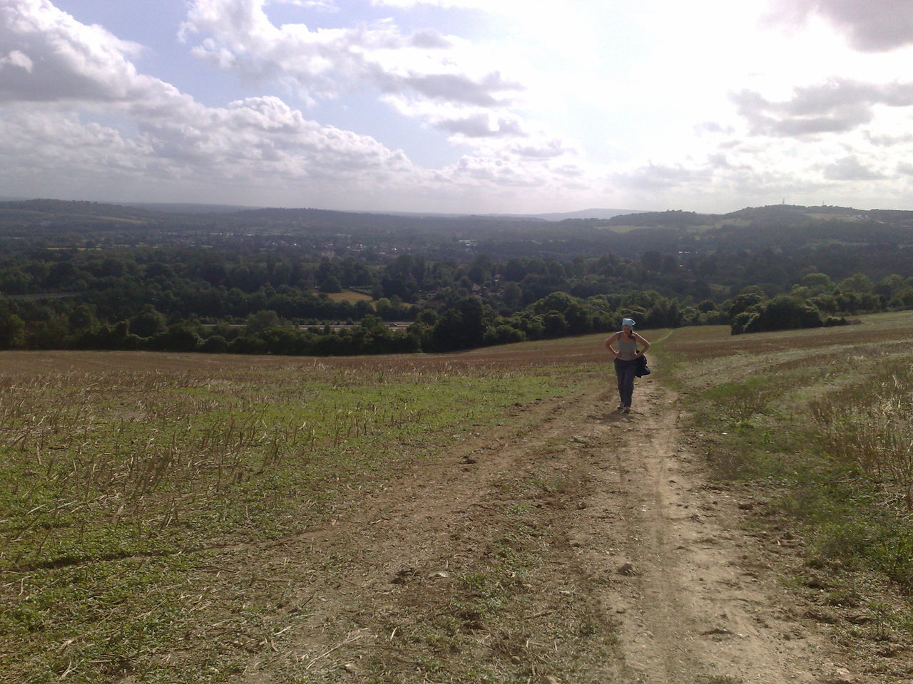 The Climb after Crossing the M25 from the South Day Field Landscape Nature One Person Outdoors Sky Standing Walking