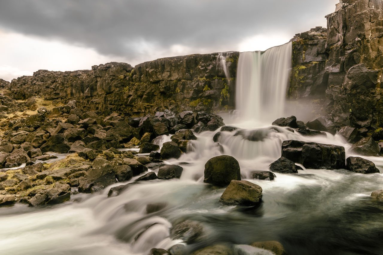 Beauty In Nature Gold Circle Iceland Landscape Long Exposure Nature No People Outdoors Oxararfoss Thingvellir Thingvellir National Park Travel Travel Destinations Water Waterfall