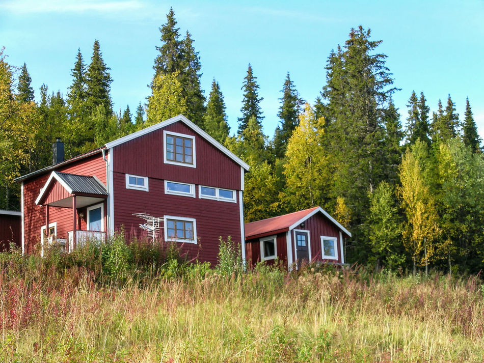 Architecture Built Structure Detached Homes Eyeemphoto Forest Hanging Out House Houses And Windows Idyllic Landscape Landscape_Collection Marsfhallet Nature No People Outdoors Red House Rural Scene Sweden Sweden-landscape Tranquility Two Is Better Than One