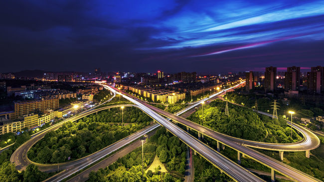 Butterfly A Bird's Eye View Aerial View Architecture Building Exterior Built Structure City City Life Cityscape High Angle View Illuminated Multiple Lane Highway Night Road Scenics Sky Skyline Traffic Two Is Better Than One Urban Skyline Battle Of The Cities Changsha,China Changsha