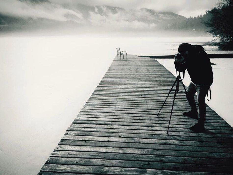 -20 grados, 6:00am, lago helado, neblina del alba, Green Lake Whistler, B.C Canada Hello World Lake Raiphotography Benimussastudio Blancoynegro