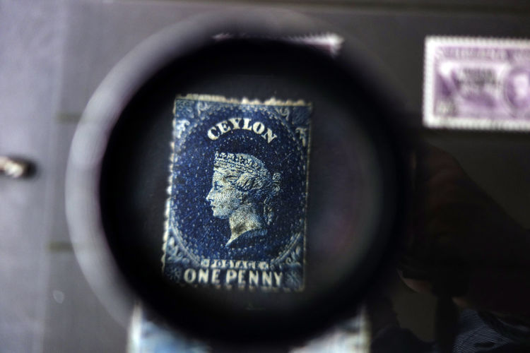 Blue Ceylon Postage Stamp Magnification One Penny Sta Philatelist Philately Stamp Collicti Valuable