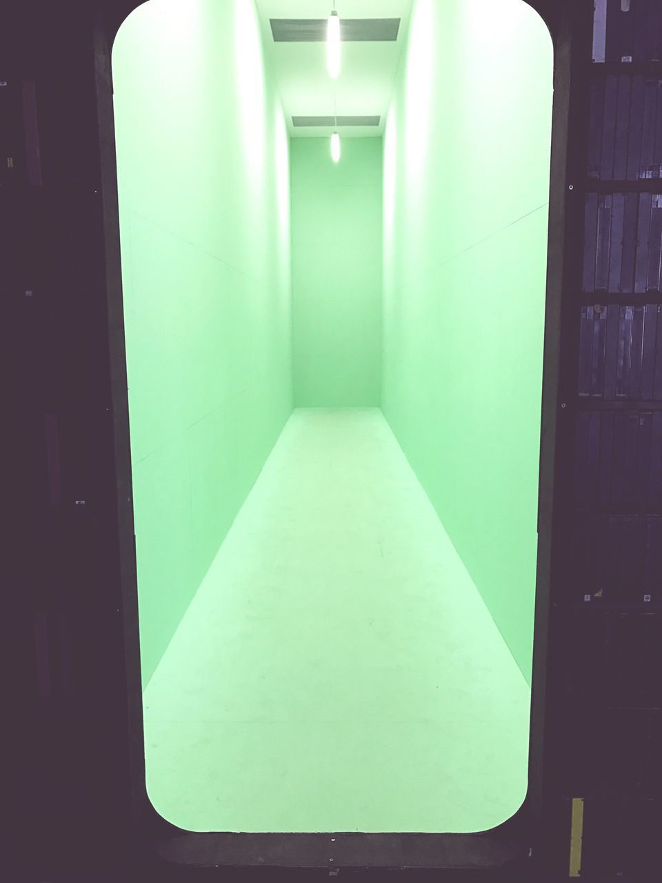 indoors, architecture, illuminated, built structure, no people, empty, green color, day