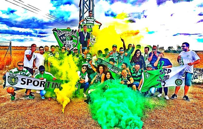 Sporting Clube de Portugal on the road to Madrid People And Places UCL Sportfan Juveleo Football Arts Culture And Entertainment Outdoors Joy Enjoyment Group Of People Getty Images EeYem Best Shots EyeEm Best Shots - The Streets My Perspective My View Pyro Pyro Is Not A Crime