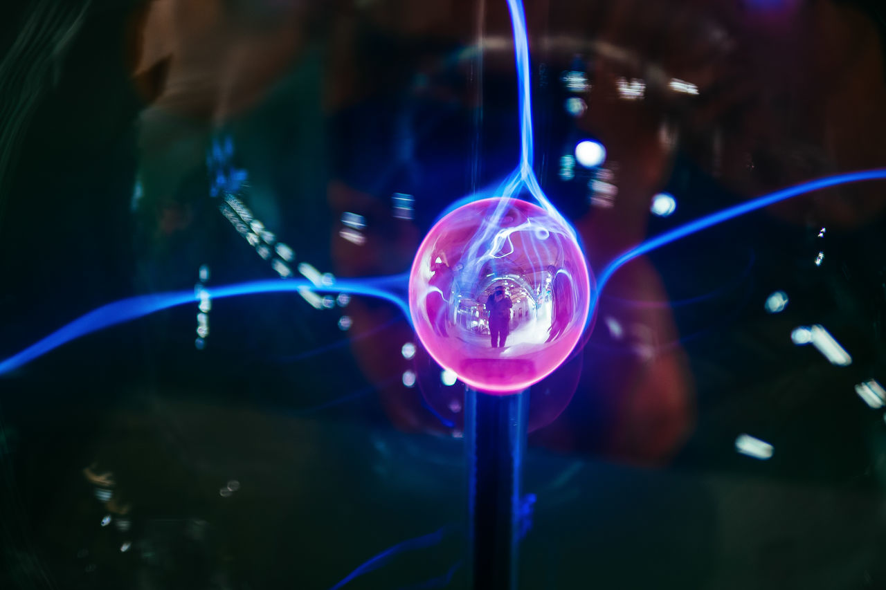 the electric selfie Blue Close-up Crystal Ball Day Electric Electricity  Experience Experimental Futuristic Glass Glass Reflection Illuminated Indoors  Lighting Equipment Physics Plasma Ball Plasma Globe Technology