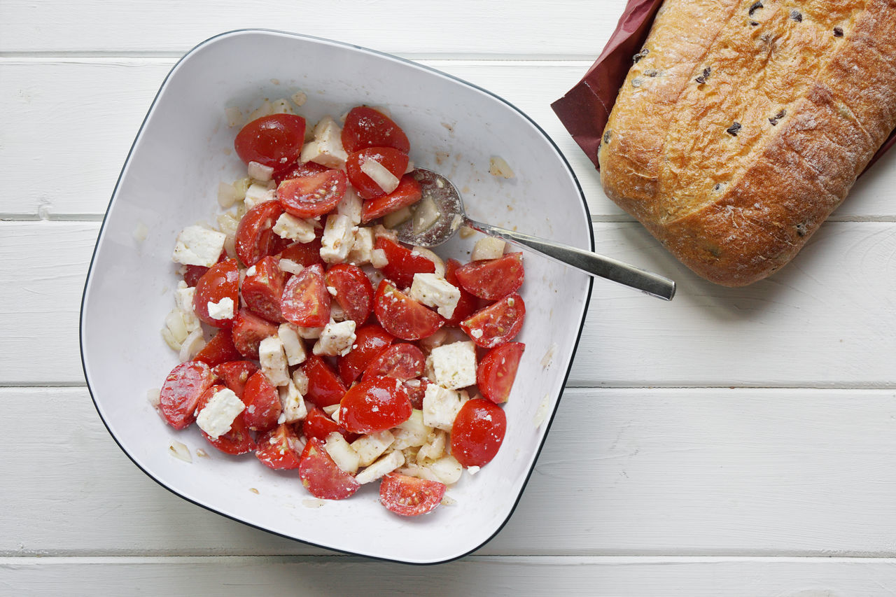 Bowl Bread Cherry Tomatoes Ciabatta Copy Space Directly Above Dish Feta Food Freshness Greek Healthy Eating Indulgence Meal Mediterranean Food No People Overhead View Ready-to-eat Red Salad Serving Size Still Life Table Tomato Tomato Salad