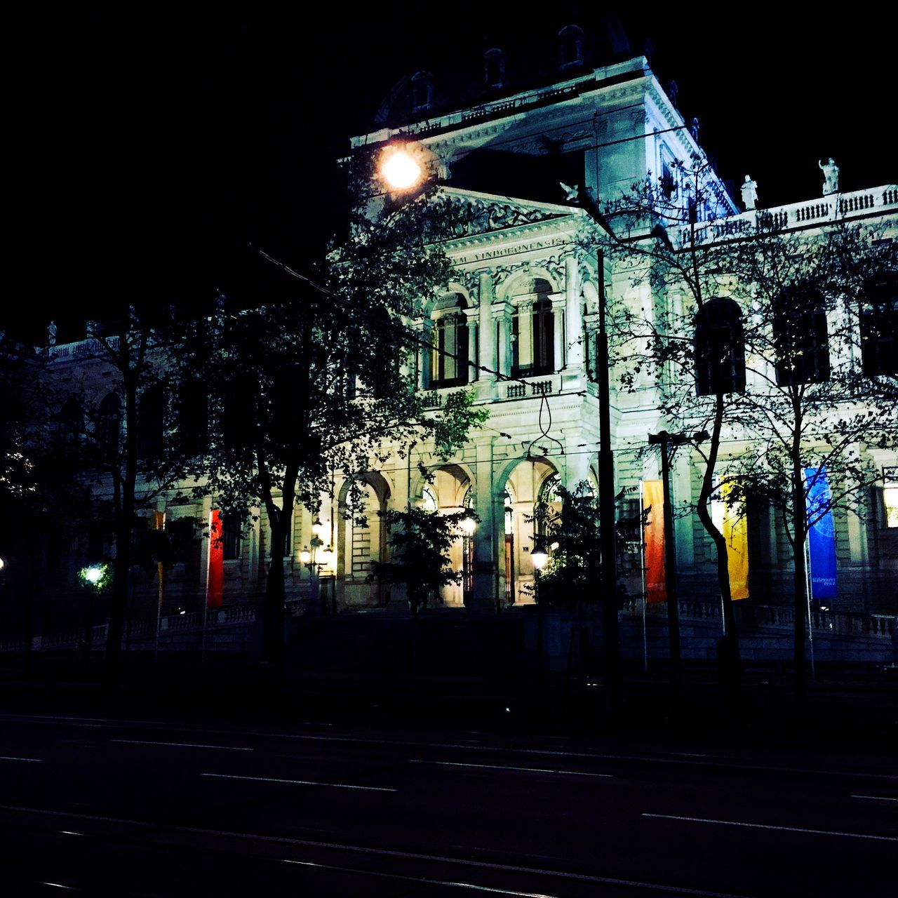 Illuminated Night Building Exterior Architecture Built Structure City Outdoors No People Vienna University Old Buildings Historical At Night Alumni