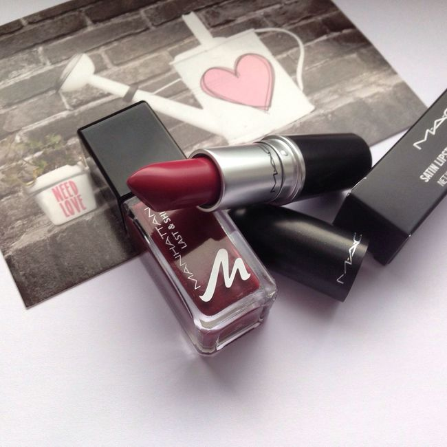 Mac Captive and Manhattan Nailpolish Mac Maccosmetics Maccaptive Captive Lipstick Nailpolish