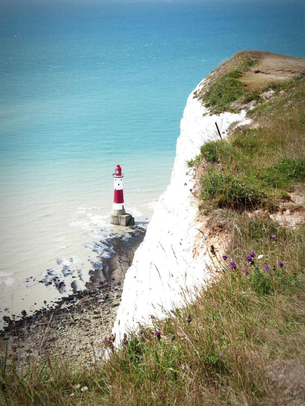 Cliff Sea Sea And Sky Seaside Seascape Beach Beachy Head Uk England Uk Coastline Headlight Red Eastbourne United Kingdom