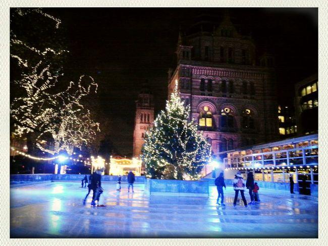 Ice skating outside The British Natural History Museum 2014 Christmas Fun Enjoying Life
