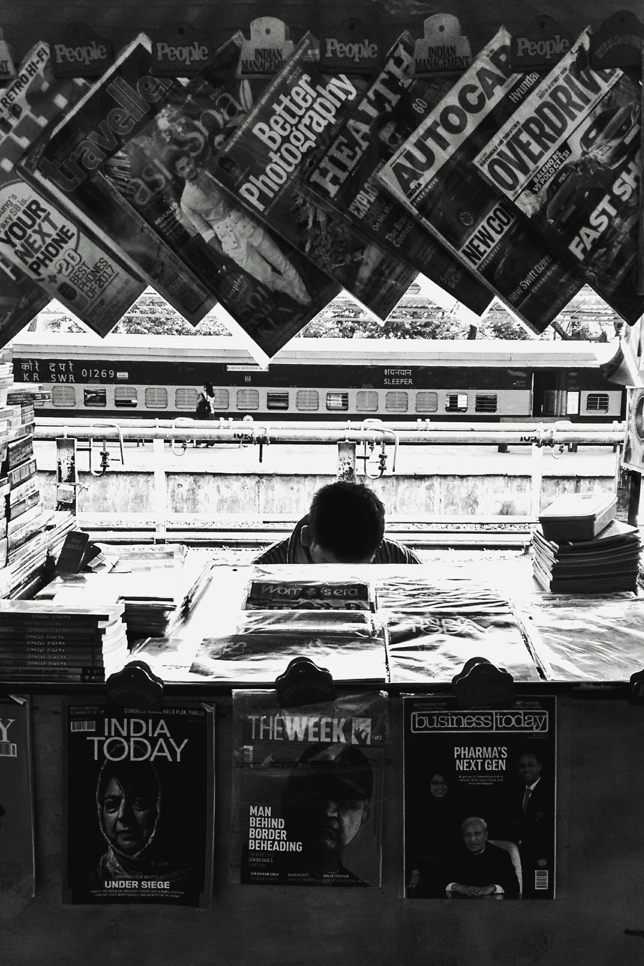 Book stall at Madgaon railway station. Book Store Text Communication Day Outdoors Newspaper Architecture City No People Railway Blackandwhite Railway Station The Street Photographer - 2017 EyeEm Awards EyeEmNewHere