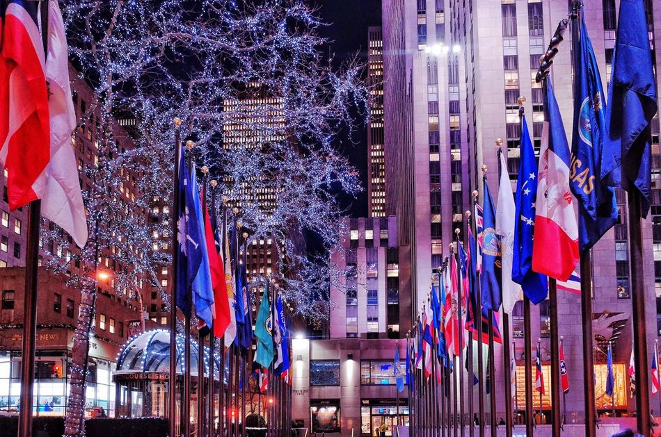 Flag Illuminated Building Exterior City New York My Traveling Photography My Street Photography Nightphotography Flag No People Travel Destinations Night Streetphotography