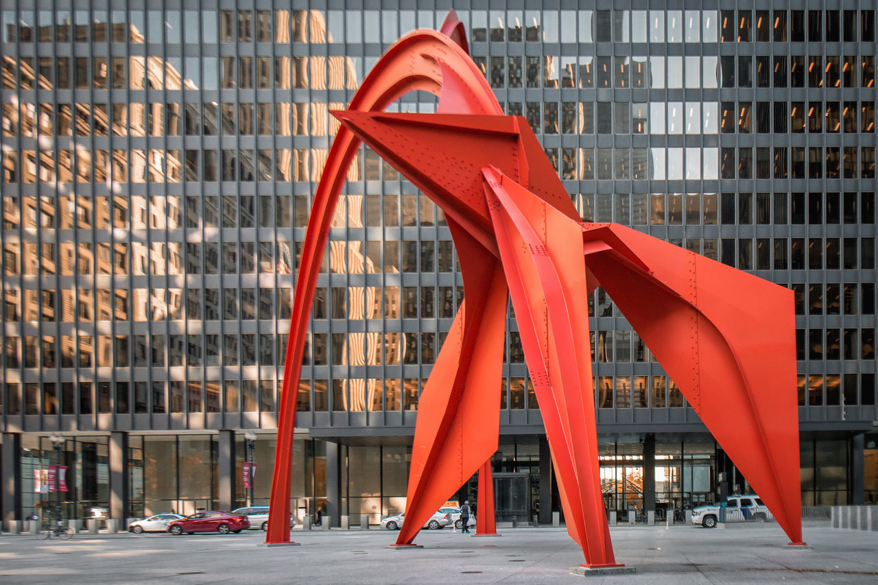 Archictecture Check This Out City Day Flamingo Monkey Bars No People Outdoors Red Reflection Skyline